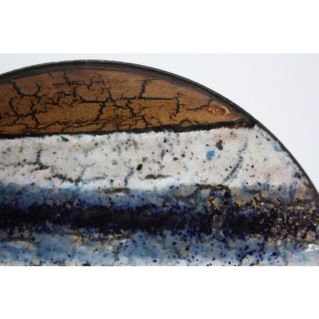 1950s Modernist Blue, White and Gold Enamel on Copper Dish For Sale - Image 5 of 10