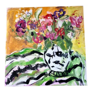 JJ Justice Vase of Flowers Contemporary Painting For Sale
