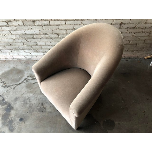 Minotti Mohair Lounge Chair and Ottoman For Sale - Image 11 of 12