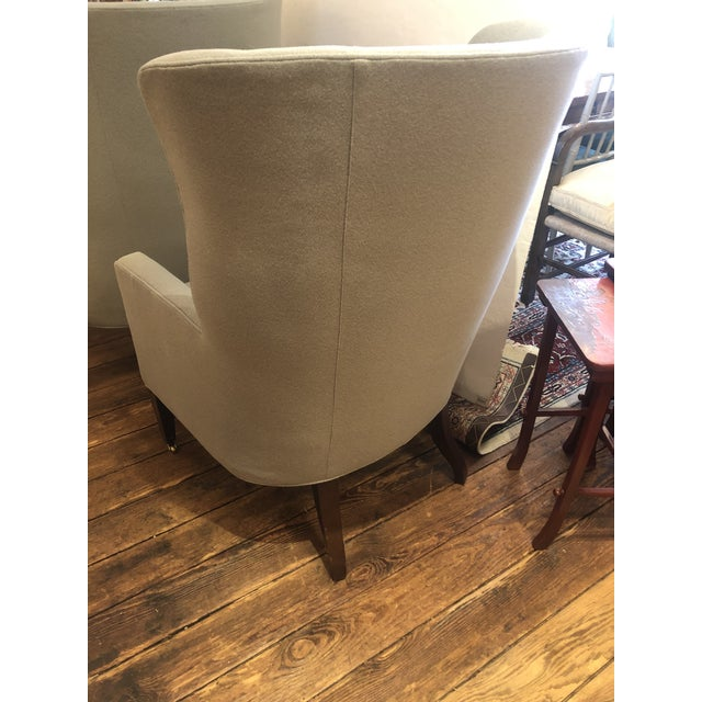 2010s Flannel Upholstered Barrel Back Wing Chairs by Baker -A Pair For Sale - Image 5 of 13