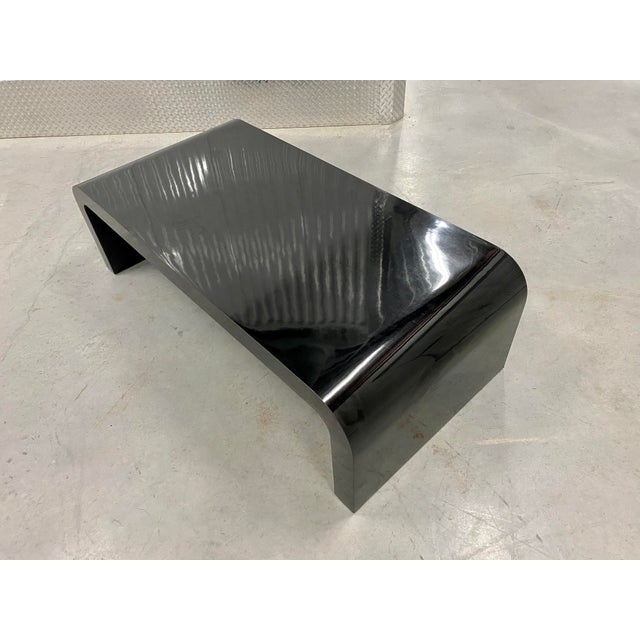 1980s Karl Springer Inspired Waterfall Lacquered Coffee Table For Sale - Image 5 of 9