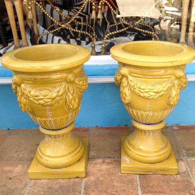Traditional Pair of Massive Glazed Terracotta Garden Urns For Sale - Image 3 of 13