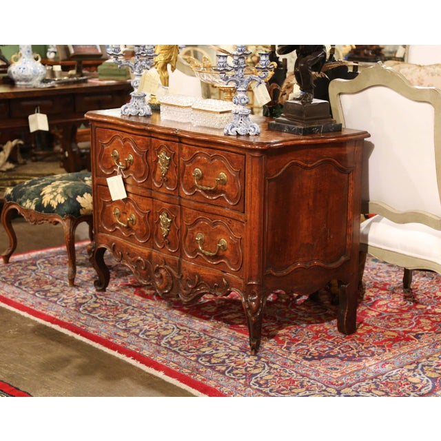 Gold 18th Century Louis XV Period Carved Walnut Two-Drawer Commode From Fourques For Sale - Image 8 of 11