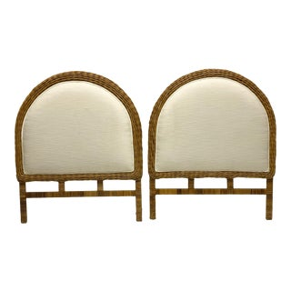 Pair of Wicker & Rattan Twin Headboards For Sale