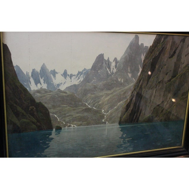 1910s Zeno Diemer Glacier Scene Gouache Painting For Sale - Image 5 of 6