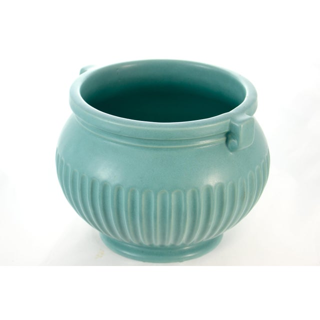 American Classical Aqua Fluted Catchall For Sale - Image 3 of 6