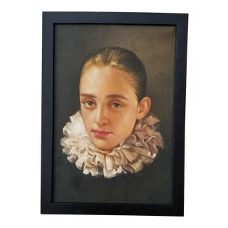 1990s Portrait of a Girl with a Ruffle Oil Painting, Framed For Sale