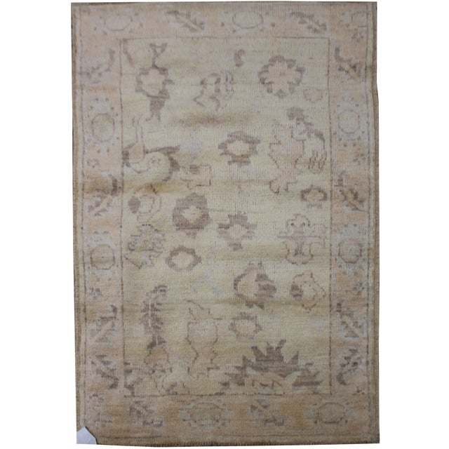 "Aara Rugs Inc. Hand Knotted Oushak Rug - 4'7"" X 3'0"" For Sale"