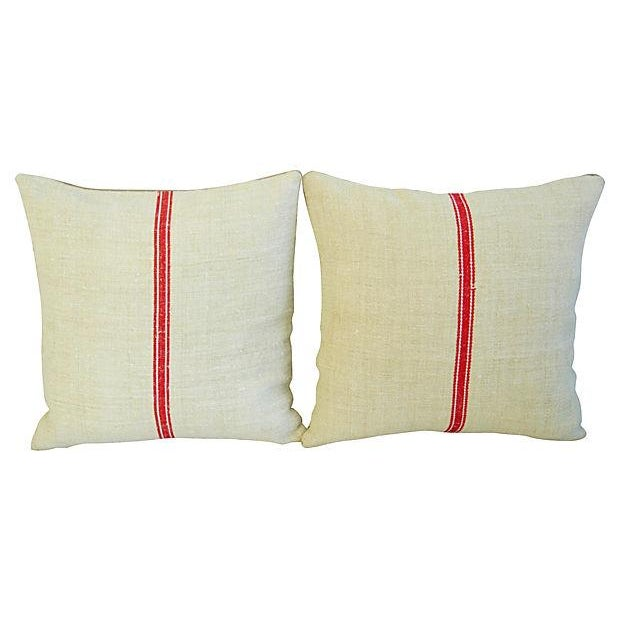 Vintage European Textile & Linen Pillows- A Pair - Image 6 of 6
