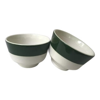 Homer Laughlin Green Band Bowls - A Pair For Sale