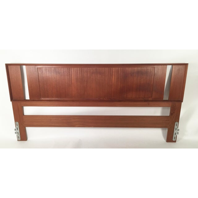 A Danish teak and grass cloth double sided king-sized headboard made by Falster, circa 1960-1970, in perfect condition....
