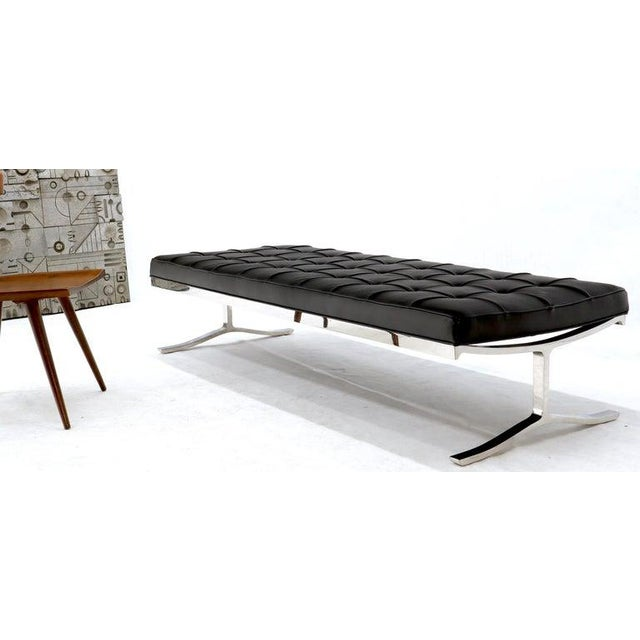 Nico Zographos Chrome and Leather Large Bench Extra Wide Daybed For Sale - Image 10 of 11