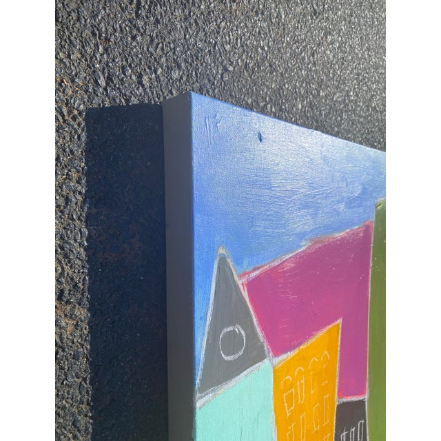 """Contemporary Sarah Trundlle Contemporary Abstract Cityscape """"Urban Color"""" Painting For Sale - Image 3 of 4"""