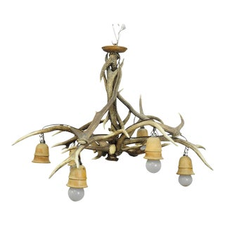 Vintage Antler Chandelier With Six Spouts Ca. 1950s For Sale