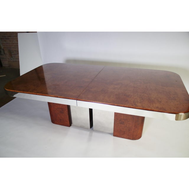 Burl Wood and Steel Dining Table For Sale - Image 4 of 10