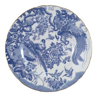 "1940s Chinoiserie Royal Crown Derby Porcelain ""Blue Aves"" Dinner Plate For Sale"