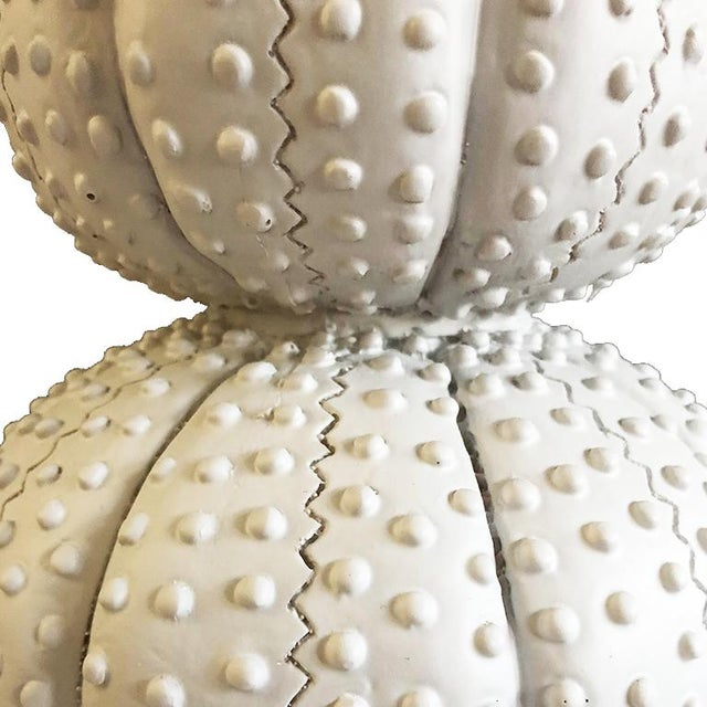 Beautiful tall white sea urchin lamp. Base is made of polished chrome. The main part of the lamp is crafted to look like a...
