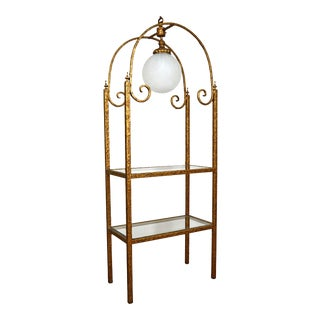 Hollywood Regency Brass Etagere With Globe Light For Sale