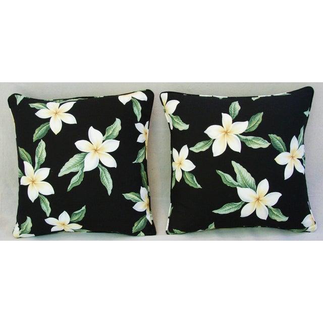 Custom Tropical Blossom Barkcloth Pillows - A Pair - Image 8 of 10