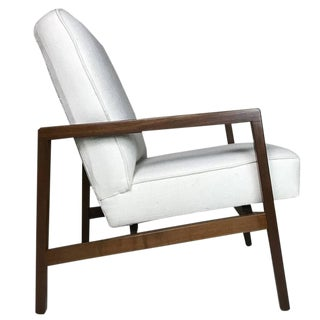 Lewis Butler for Knoll Freshly Restored Lounge Chair With White Upholstery For Sale