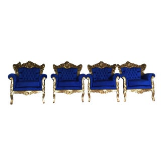 Acanthus Carved Blue Velvet Chairs - Set of 4