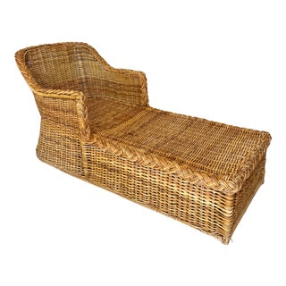 Vintage Braided Wicker Chaise Lounge Chair For Sale