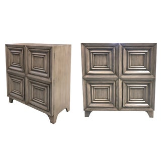 A Handsome Pair of American Mid-Century Solid Gray-Cerused Oak Dressing Cabinets With Coffered Bi-Fold Doors For Sale
