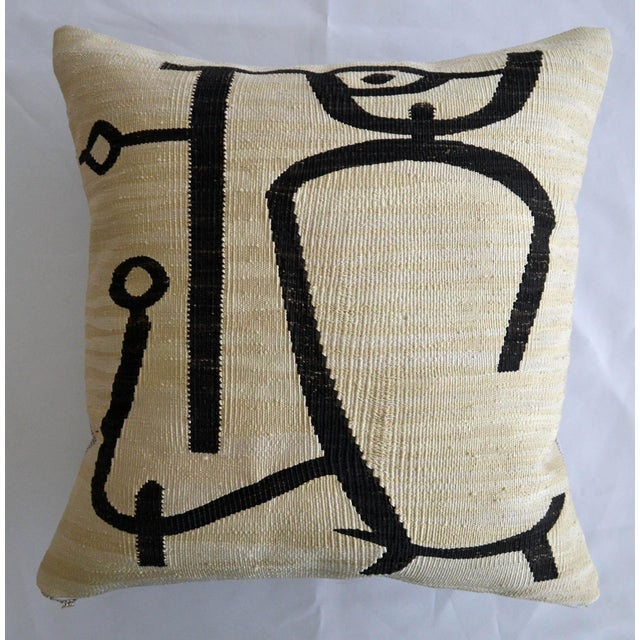 Art Deco Paul Klee - Lady Apart (Dame Abseits) - Inspired Silk Hand Woven Pillow Cover - 18″ X 19″ For Sale - Image 3 of 11