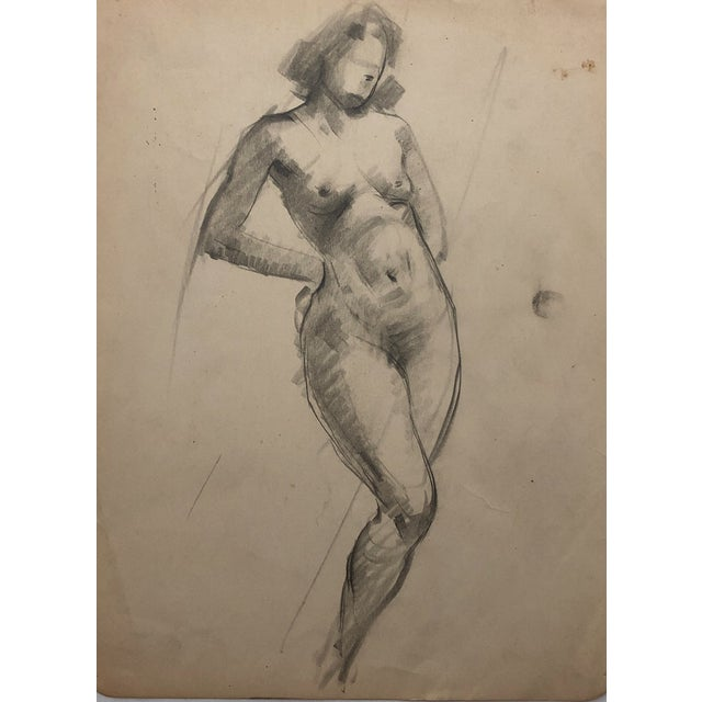 Graphite 1930s Female Nude by Henry Gasser For Sale - Image 7 of 7