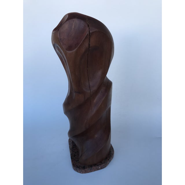 """Wood J. Terkiel """"Abstract IV"""" Mid-Century Styled Mahogany Sculpture For Sale - Image 7 of 7"""