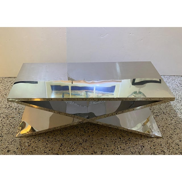 Modern X Base Cocktail Table Polished Nickel Plated Italian Modern For Sale - Image 3 of 11