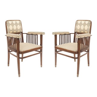 Austrian Bentwood Beech Wood Arm Chairs For Sale