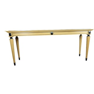 1980s Mid-Century Modern David Linley British Marble-Top Satinwood Console Table For Sale