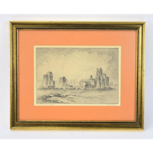 1950's William Kent Hagerman Chicago Lakefront Skyline Speedboat Etching Print For Sale - Image 10 of 10