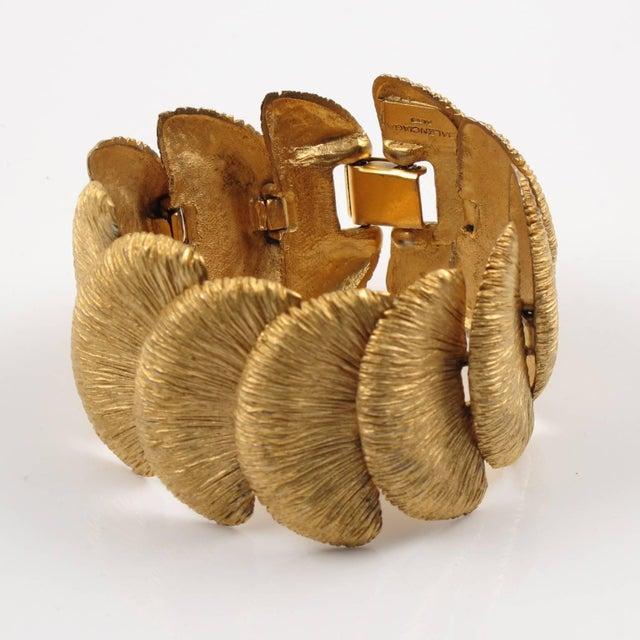 Modern Balenciaga Paris Signed Link Bracelet Gilt Metal Carved and Textured For Sale - Image 3 of 10