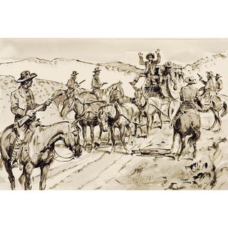 Western Stage Hold Up Illustration Drawing For Sale