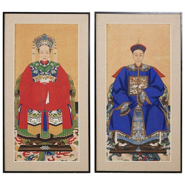 Pair of Chinese Patriarch Matriarch Ancestral Portraits For Sale - Image 13 of 13