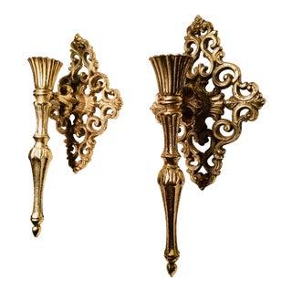 Vintage Hollywood Regency Gold Gilded Metal Candle Sconces - a Pair For Sale