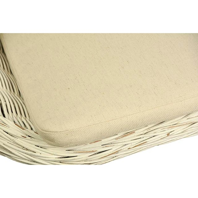 Mid-Century Modern White Rattan Chair With Cushion For Sale - Image 3 of 5