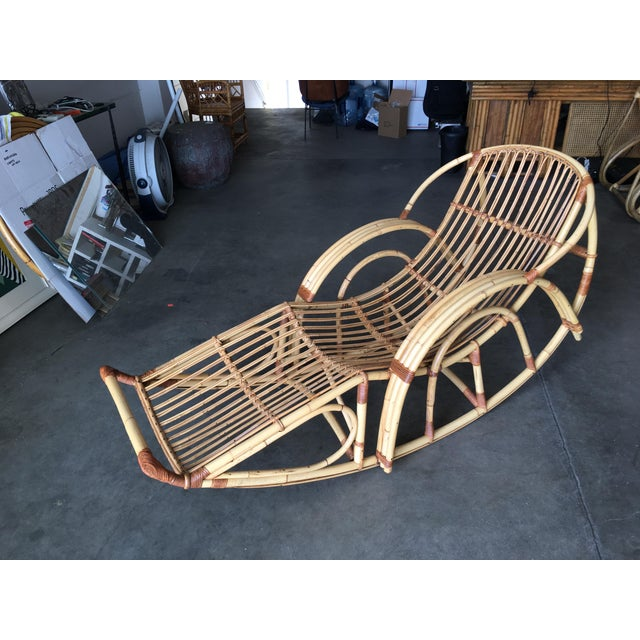 "Mid-Century Modern Restored Franco Albini Style ""Day Dreaming"" Rattan Rocking Lounge Chair For Sale - Image 3 of 9"