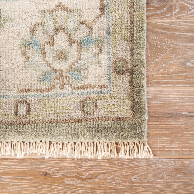 Boho Chic Jaipur Living Geneva Hand-Knotted Floral Green & Ivory Area Rug - 2′ × 3′ For Sale - Image 3 of 6
