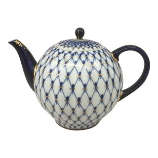 1950s Traditional Russian Style Blue and Gold Detailed China Tea Pot