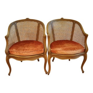 Pair of French Caned Bergere Chairs For Sale