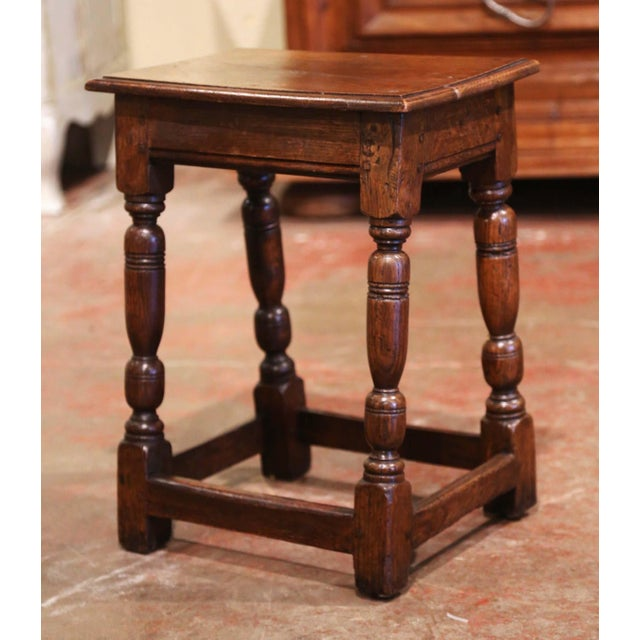 Wood 19th Century French Louis XIII Carved Chestnut Country Stool From Normandy For Sale - Image 7 of 7