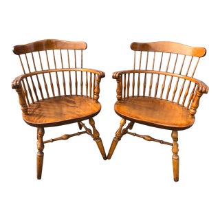 Vintage Nichols and Stone Windsor Armchairs - a Pair For Sale