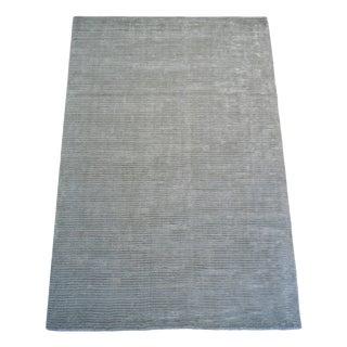 Wool Aqua Stripe Hand Made Rug- 5x8ft. For Sale
