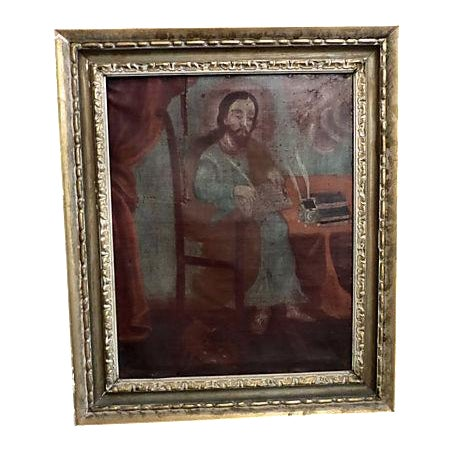 Medieval Scholar Antique Painting - Image 1 of 5