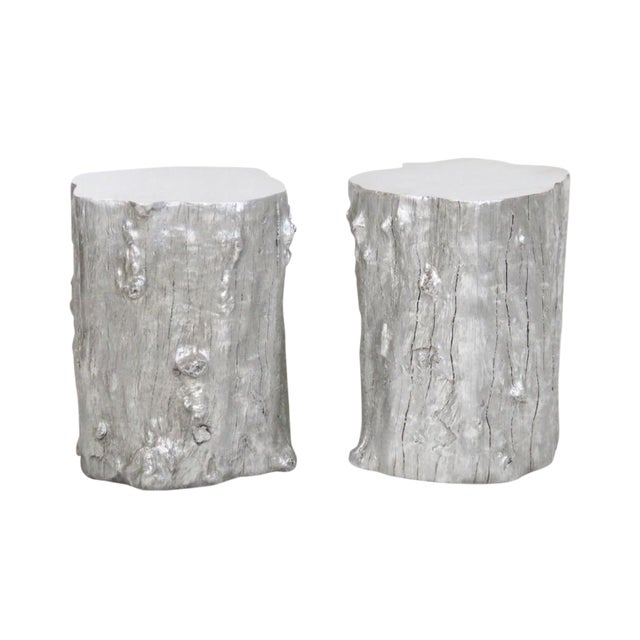 Silvered Tree Trunk Side Tables -- A Pair - Image 1 of 3