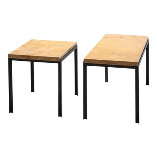 Florence Knoll Marble & Black Steel Side Tables For Sale