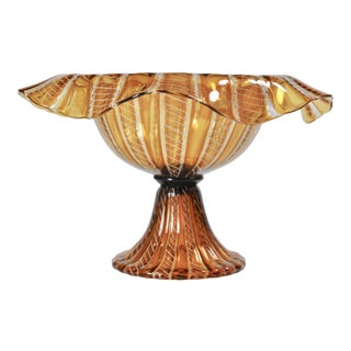 Vintage Salviati Attributed Murano Glass Compote For Sale